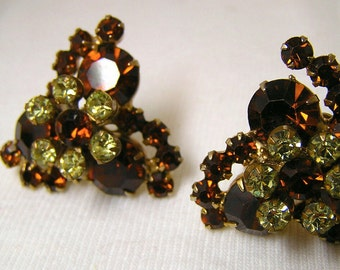 Vintage Rhinestone Earrings deep Golden Topaz and Light Yellow Bride Fashion 50's Glamour