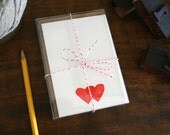 Double Hearts / Letterpress Printed Notecards / Set of Six