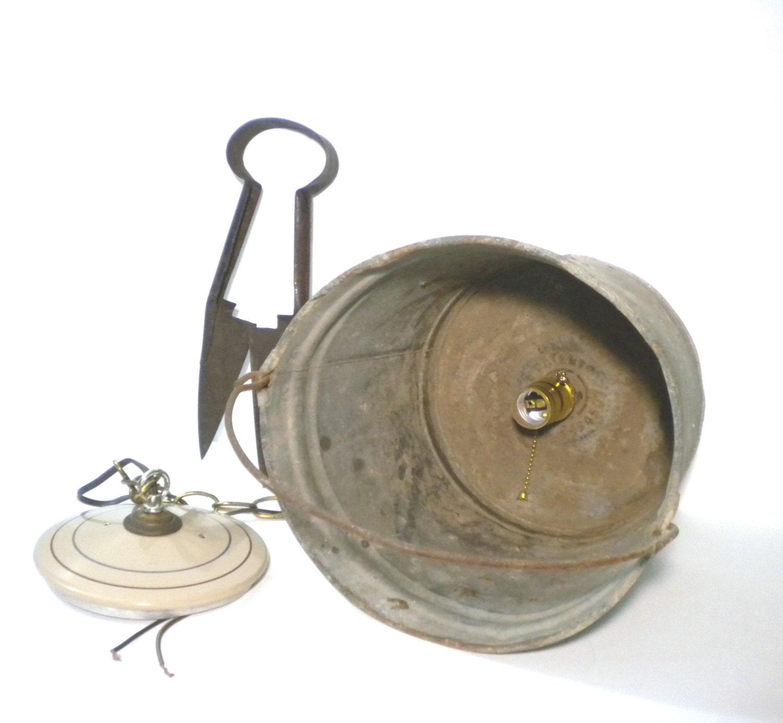 Funky Rustic Galvanized Pendant Light Via Etsy: Vintage Swag Lamp Rustic Galvanized Metal Bucket Shade Light