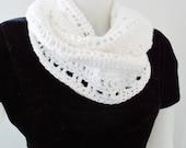 White Organic Cotton Crocheted Infinity Scarf