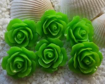 Resin Flower Cabochon - 18mm - 12pcs - Green