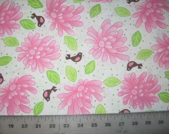 """Birdie by Me and My Sister Designs pink flowers and birds on white fabric 17"""" X 42"""""""