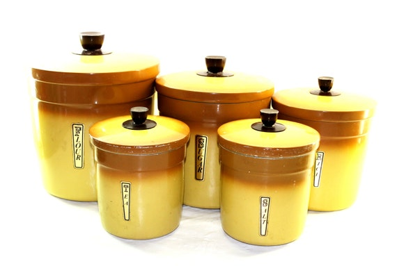 Items similar to 5 piece canister set yellow and brown for Kitchen set yellow