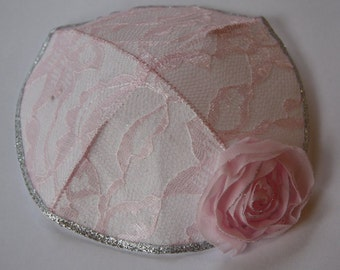 Ladies Kippah Pink Lace and Flowers