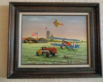 C Carson painting, serigraph Standard Oil Airport, Airplane US Mail vintage art framed Large, vintage C Carson art, folk art