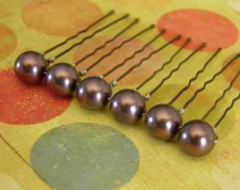 6 Burgundy 10mm Swarovski Crystal Pearl Hair Pins