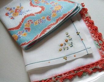 Hankies Set of Three Aqua Green Orange Crocheted Edge Floral Print Embroidered Handkerchiefs