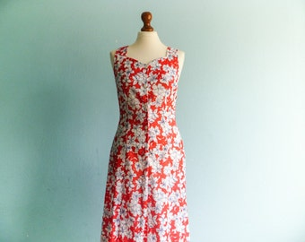 Vintage 90s floral dress summer / red white blue / sleeveless / buttoned up down / midi long / medium