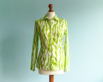 Vintage women shirt blouse / zebra animal print / lime green white / long sleeves / buttoned up down / small medium
