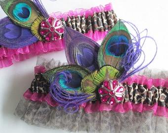 Hot Pink Wedding Garter Set, Purple Peacock Garter, Magenta Bridal Garters, Peacock, Leopard Bride, Purple & Pink Prom Garters