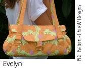 """Handbag Bag Sewing Pattern - INSTANT DOWNLOAD  PDF- """"Evelyn"""""""
