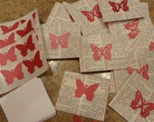 18 Vintage Dictionary Book Page & Butterfly Mini Envelopes