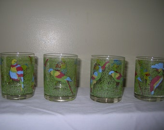 Set Of Four Hand Painted Exotic Parrott Glasses