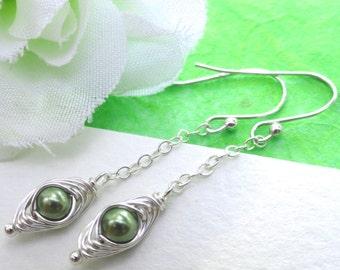 Peas in a pod, One pea in a pod earrings, sterling silver earrings, family, sister, best friends, petite peas in a pod