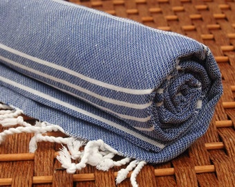 Classic COTTON PESHTEMAL Personalized Turkish Towel - Monogrammed Embroidered - Dark Blue