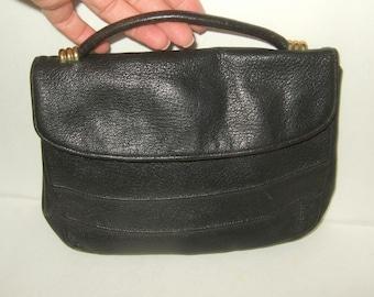 Vintage leather purse leather clutch purse  Deep black leather clutch purse leather pocketbook leather handbag