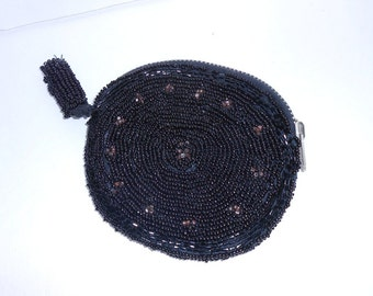 Vintage black beaded bag jet and amethyst beads beaded clutch beaded evening bag Film Noir Jean Harlow 1940's evening bag hollywood regency