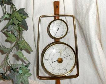 Vintage Danish barometer vintage Airguide relative humidity and barometer gauge brass mid century Danish Modern weather station man cave