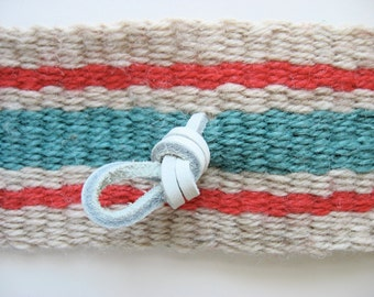 long hand-woven wool guitar/lute strap