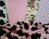 SPECIAL ORDER STEPHANIE Baby Blankets Western Cowboy Cowgirl Lil Cowpokes Horseshoe Cow Print Bandana And Saddle Up Bib Sets Boy And Girl