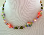 Fresh Flowers Glass Bead Necklace & Earring Set