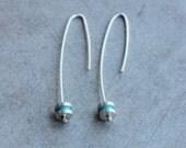 Silver Reel Earrings, mint enamel