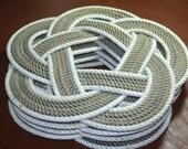 """Set of 4 Round Placemats Trivet Round Design 13"""" diameter 100% Eco Friendly Knotted Rope Mats"""