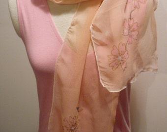 Handpainted Chiffon Scarf by The Silk Maid Original One Off Design