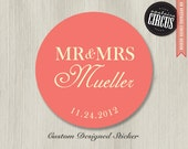 Custom Wedding Stickers - Mr and Mrs Favor Labels