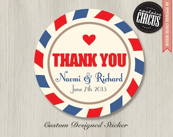 Custom Wedding Stickers - Air Mail Vintage Post Thank You Favor Labels