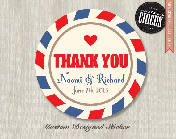 Custom wedding stickers air mail vintage post thank you for Custom mailing stickers