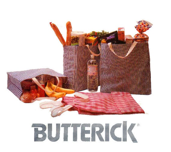 Reusable Bags Pattern Butterick 5824 Eco Friendly Totes Gift Bags Lunch Bags Market Bags Beach Bags Vintage Accessories Sewing Pattern UNCUT