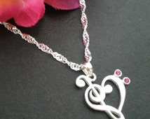 Music Note Necklace in Silver - Treble clef and bass clef necklace - Music Heart Necklace - Christmas and Valentine Gift for Her, Teachers