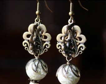 Antiqued Gold and Etched Creme Pearls Modern Earrings