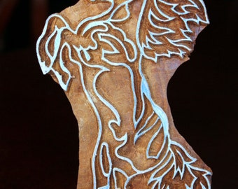 Hand Carved Indian Wood Textile Stamp Block- Jumping Horse