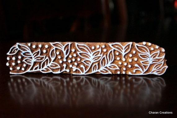 Hand Carved Indian Wood Textile Stamp Block- Flower Vine Motif
