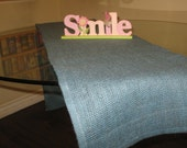 """Home Decor-Table Runner-Burlap Table Runner-Wedding Runner-VintageTable Runner Blue Burlap 13""""X72"""" Custom orders are welcome"""