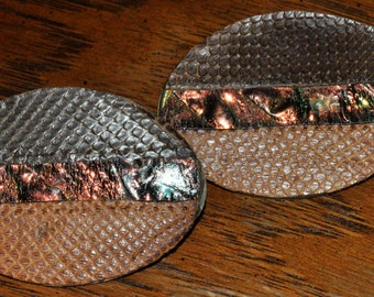 Large Vintage Hand Made Leather Style Oval Earrings