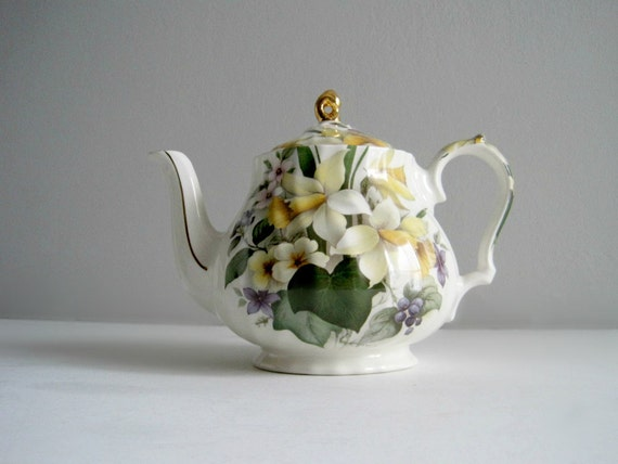 Vintage Yellow Floral English China Teapot - Cottage Decor