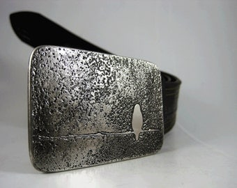 Bird on a Wire Belt Buckle - Etched Stainless Steel - Handmade