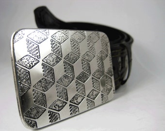 Cubes Tessellation Belt Buckle - Etched Stainless Steel - Handmade
