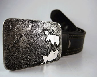 Moose Reflection Belt Buckle - Etched Stainless Steel - Handmade