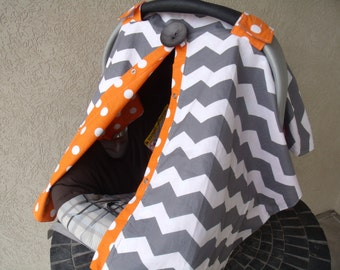 Carseat Canopy Carseat Cover Chevron Orange Dot