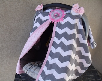 Car seat Canopy Grey and White Chevron CHANGE COLOR for Minky Dot Fabric carseat cover nursing cover carseat tent