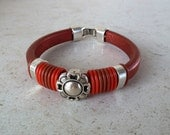 Extra thick copper leather bracelet with zamak clasp and bead - licorice leather bracelet with Oh rings
