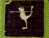 F496D - Y887B Yoga Frog D fabric with Green Apple cotton yarn