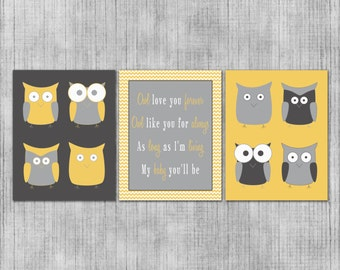 Nursery Wall Art - Modern Gray and Yellow Owls - Custom Baby or Kids Room - Set of 3 8x10 Prints