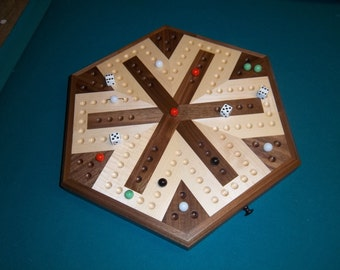 Inlaid Wooden Maple and Walnut 6 Player Aggravation Board