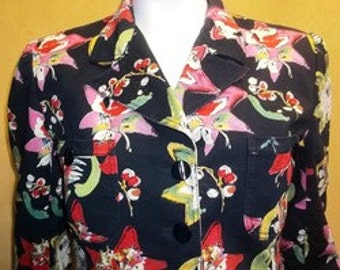 Vintage Emanuel Ungaro Paris jacket M Made in Italy Navy blue cotton floral print 12 8