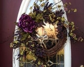 "RESERVED LISTING Spring Wreath Summer Wreath Grapevine Door Wreath Decor...""Plum Delicious"""
